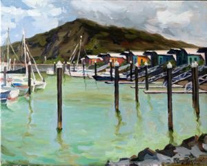 Rosslin bay marina, art for sale online by Olga Pasechnikova