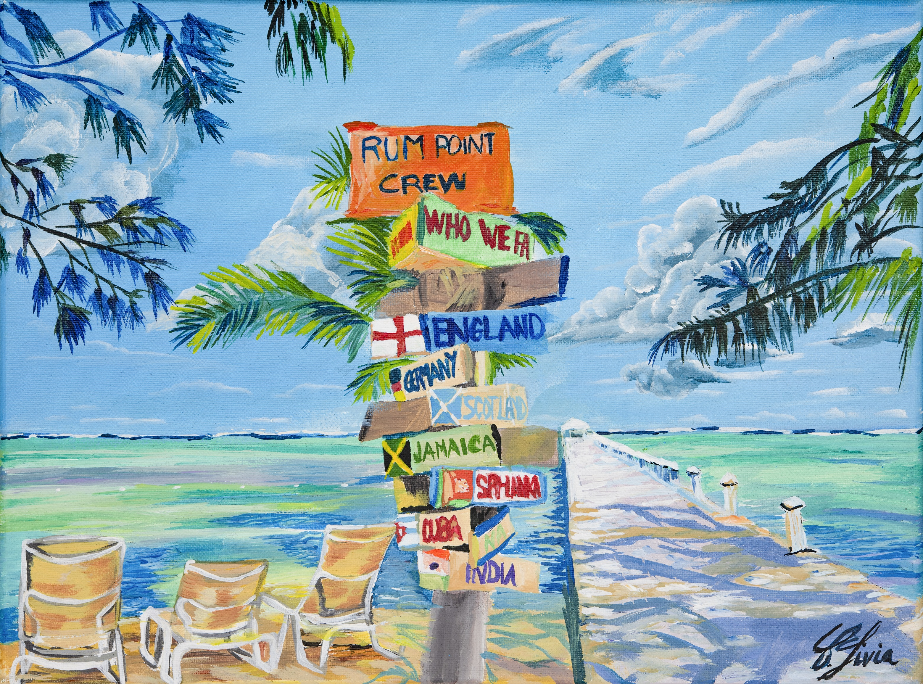 Rum Point Cayman Islands artwork by Livia Constantinescu - art listed for sale on Artplode