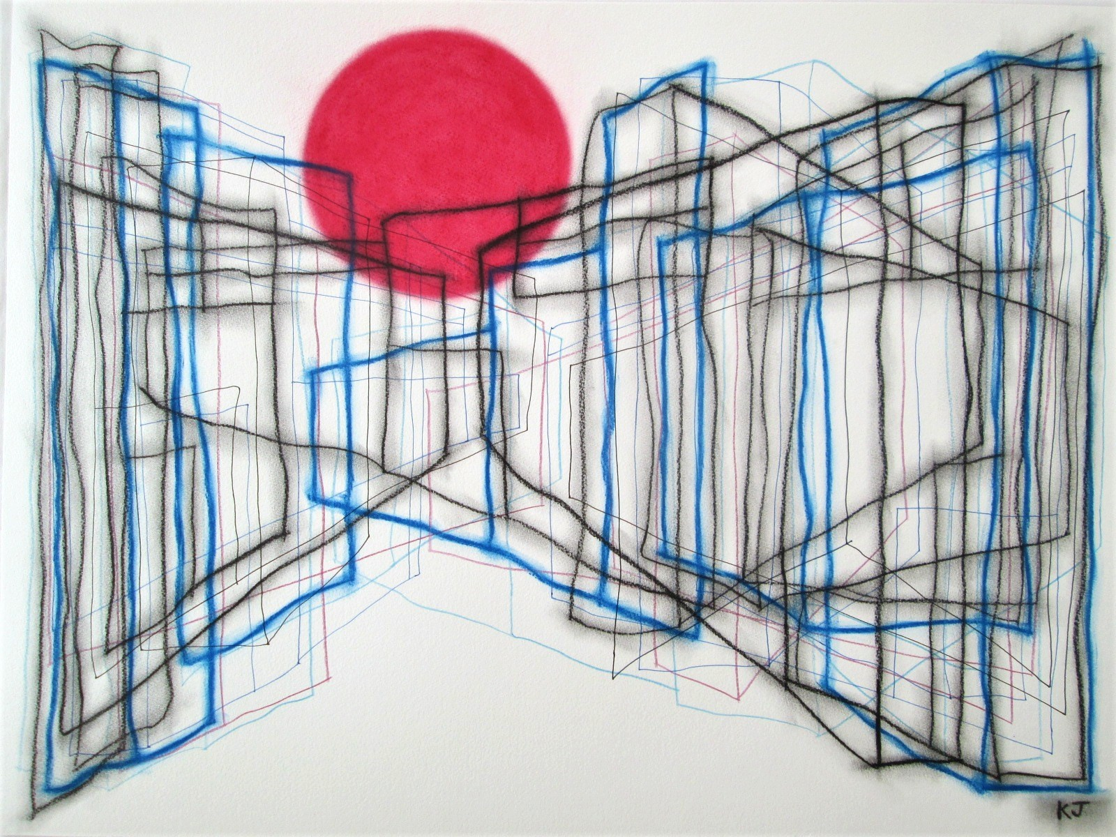 Red Circle artwork by Kevin Jones - art listed for sale on Artplode