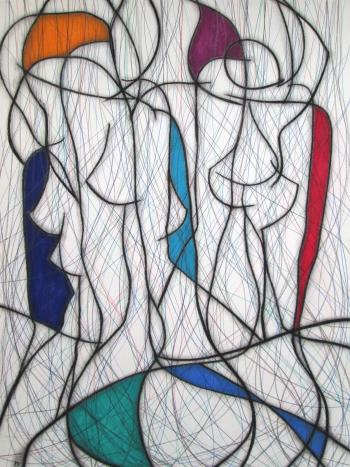 Seven Colour Abstract No 6, art for sale online by Kevin Jones