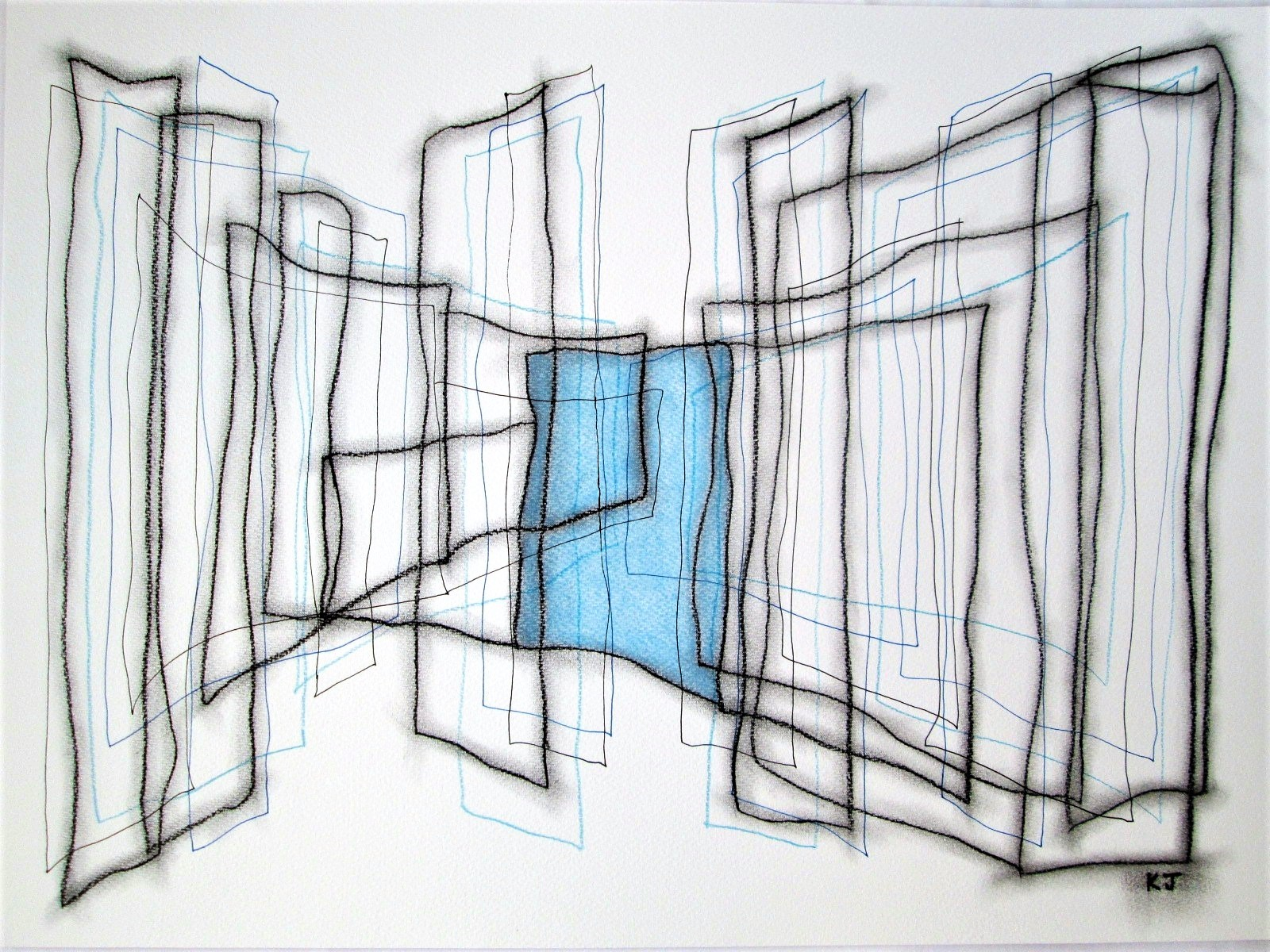 Blue Square artwork by Kevin Jones - art listed for sale on Artplode