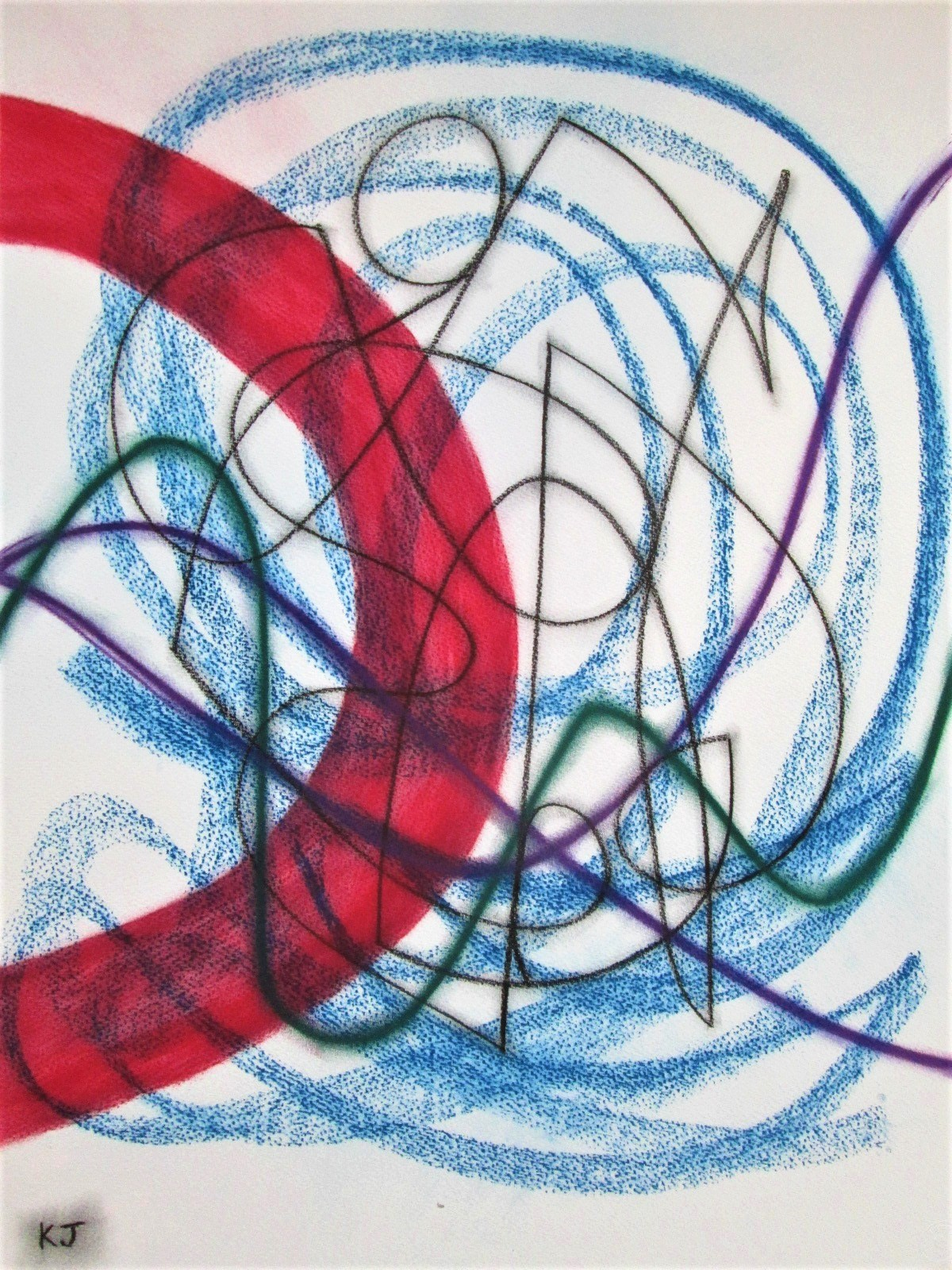 Composition on Red No 2 artwork by Kevin Jones - art listed for sale on Artplode