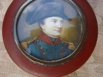 snuffbox portrait of Napoleon in officers uniform, art for sale online by Jean Guerin