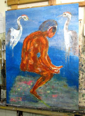 Dream of Frida Pulling Out The Thorn of Covid artwork by Joe McGee - art listed for sale on Artplode