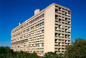 Marseille Le Corbusier building artwork by Silvia Palou - art listed for sale on Artplode