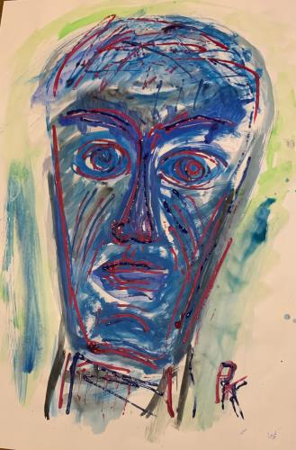 Face in Blue, art for sale online by Paul Kitzmueller
