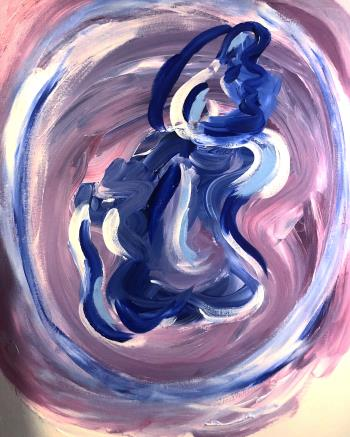 Woman in Blue, art for sale online by Nes Abouzid