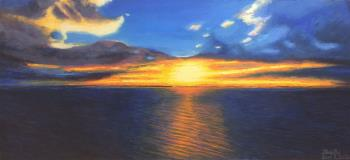 Sunset over the ocean, art for sale online by Michael Hui
