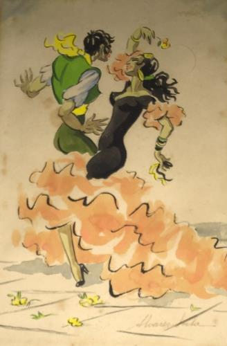 Salvador Dali And La Chunga The Flamencos, art for sale online by Salvador Dalí
