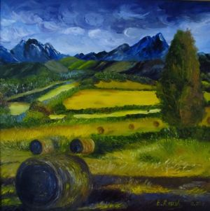 Valley in the Mountains, art for sale online by Elena Roush