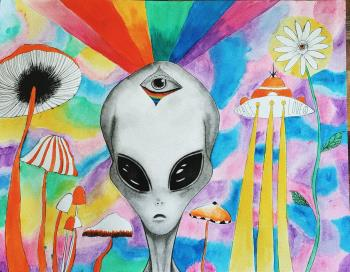 The Aliens Talk To Me, art for sale online by Briana Mikesell