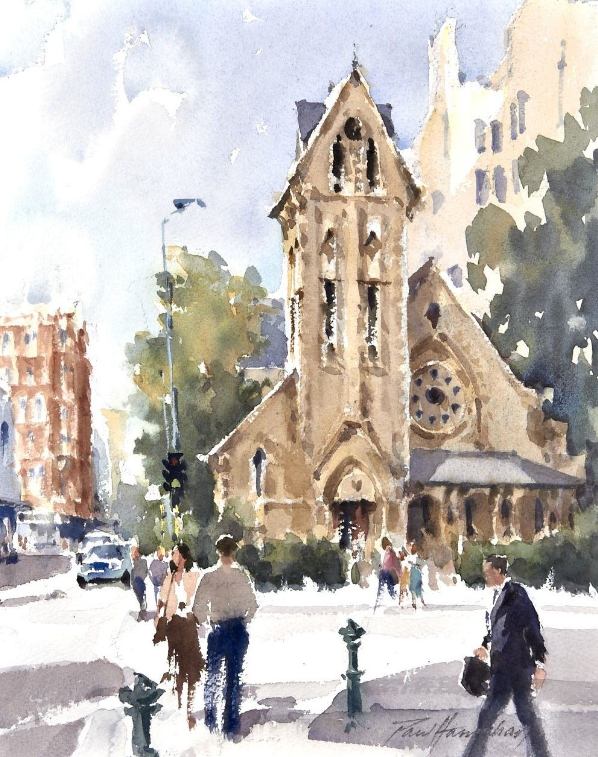 Trinity Church Worcester Manchester Streets artwork by Paul Hanrahan - art listed for sale on Artplode
