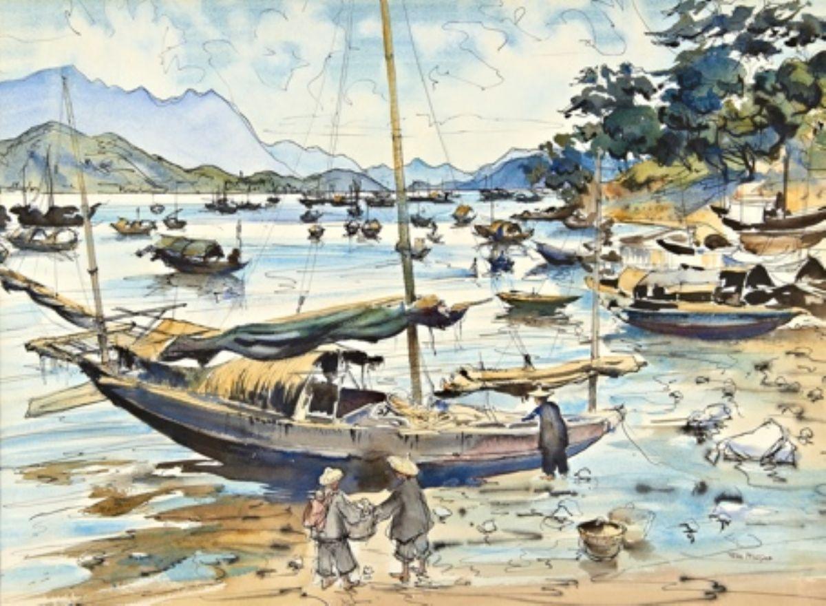 Loading Sampans for Market Hong Kong artwork by Peter McIntyre - art listed for sale on Artplode