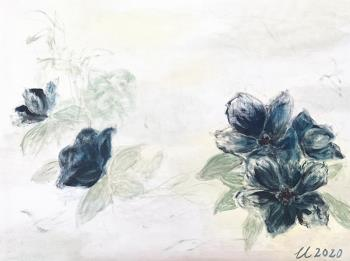 Blue flowers, art for sale online by Cherie Lo