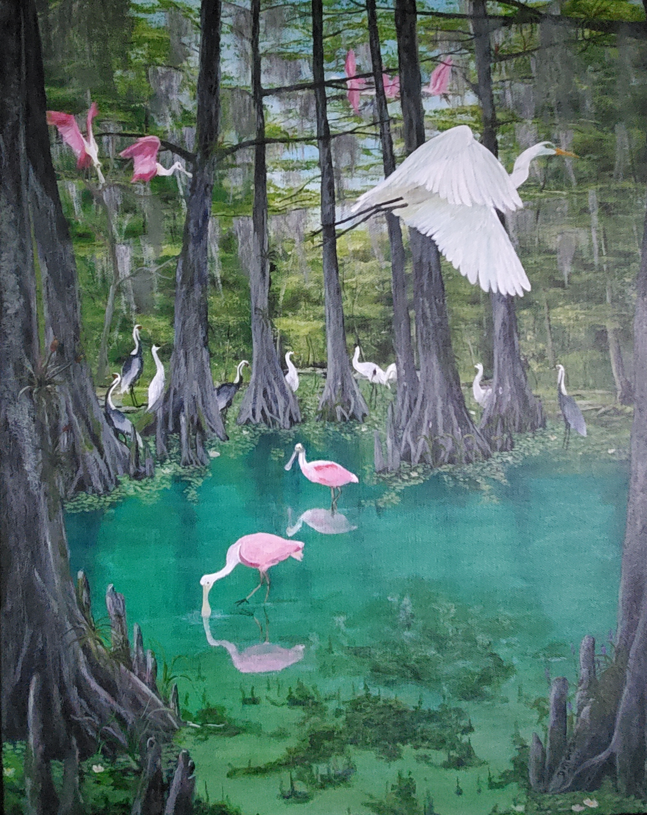 Cypress Sanctuary  artwork by Durwood Smith - art listed for sale on Artplode