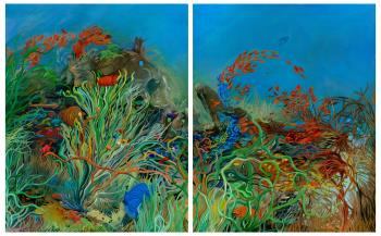 The Reef Diptych, art for sale online by Olga Stamatiou