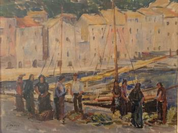Gathering at the Docks, art for sale online by Jefto Peric