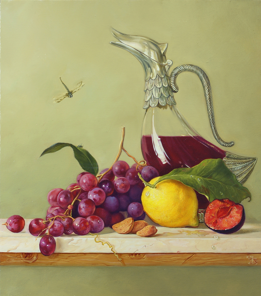 Still life with wine decanter and grapes artwork by Daria Tikhomirova - art listed for sale on Artplode