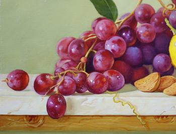 Still life with wine decanter and grapes artwork by Daria Tikhomirova