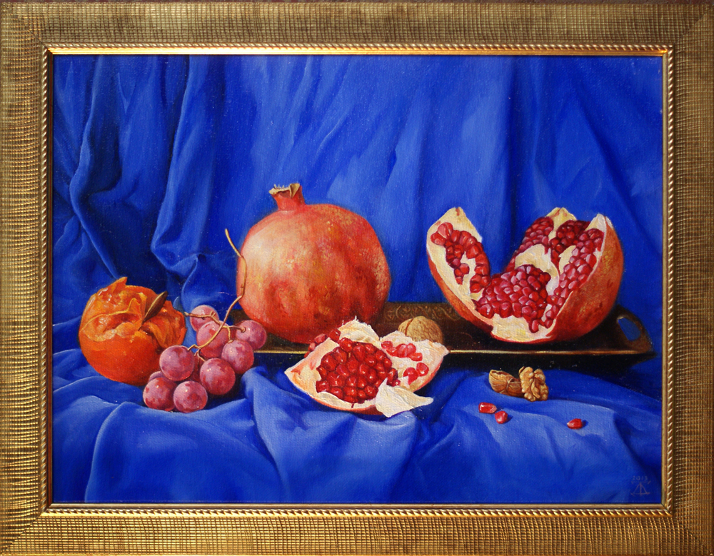 Still life with pomegranate  artwork by Daria Tikhomirova - art listed for sale on Artplode