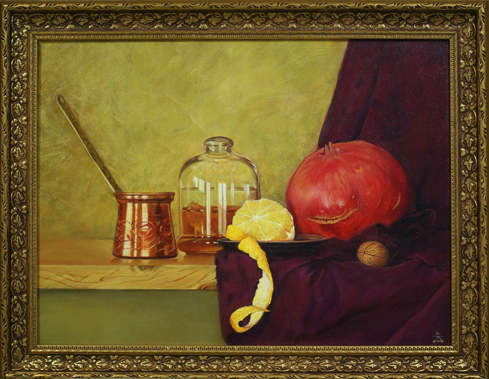Still life with turkish cezve and pomegranate artwork by Daria Tikhomirova - art listed for sale on Artplode