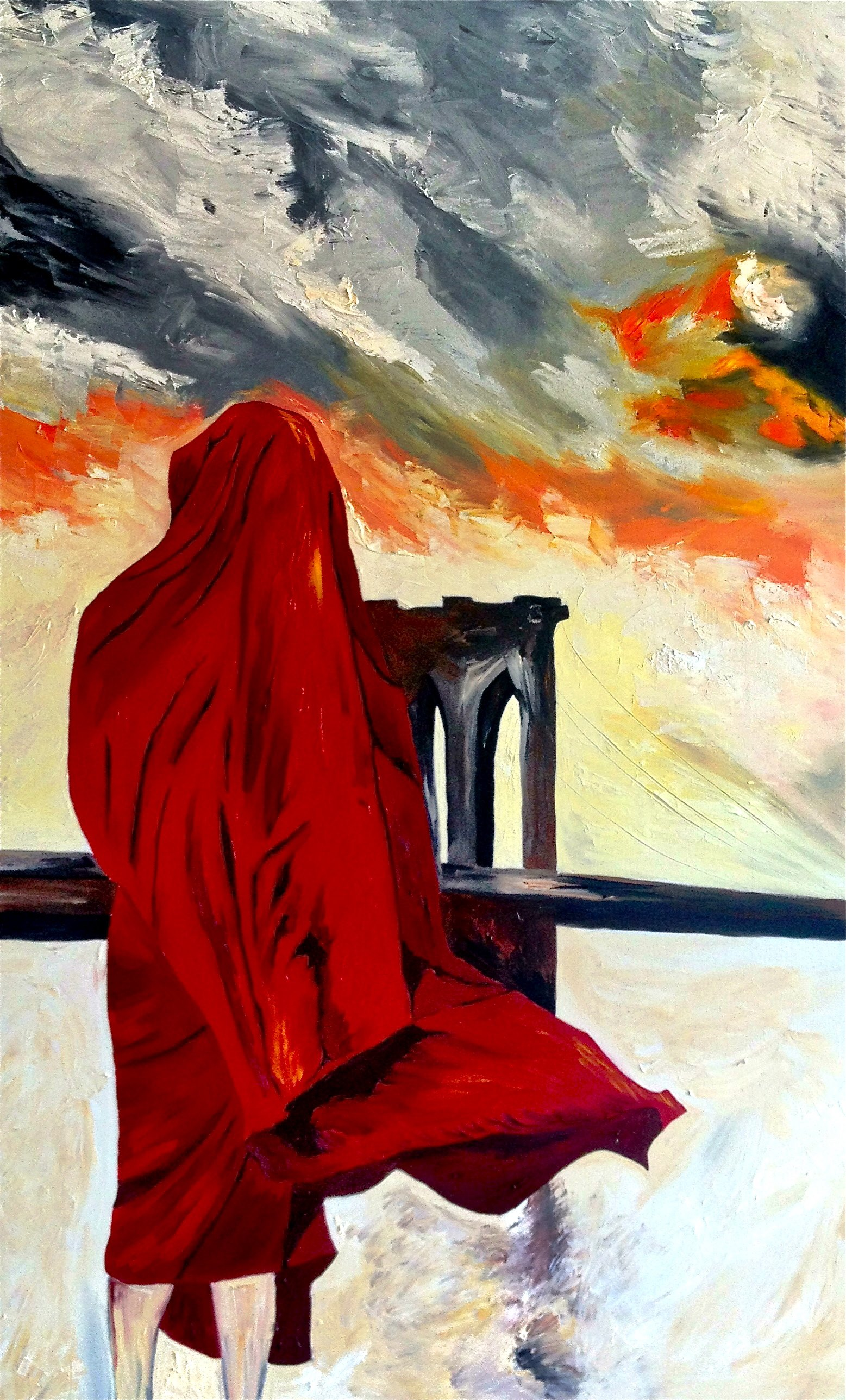 Monk in Brooklyn artwork by Leonor Anthony - art listed for sale on Artplode
