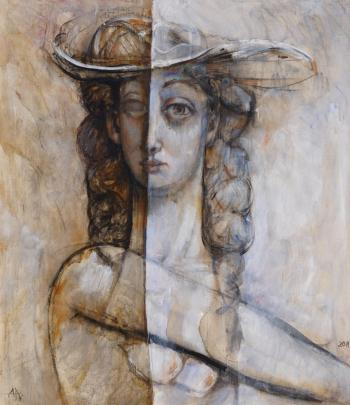 Girl with hat, art for sale online by Anton Antonov