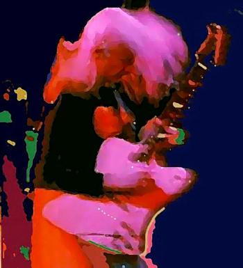 Johnny Winter with autograph, art for sale online by Vesa Peltonen