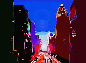 Big City Sunset, art for sale online by Vesa Peltonen