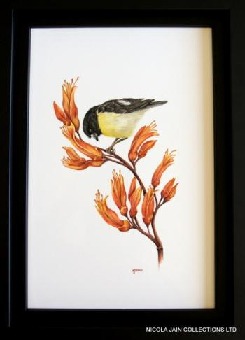 Tomtit on Flax Flower, art for sale online by Nicola Lewis